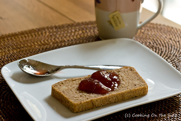 Walnut bread with some tea and jam makes a pretty nice afternoon snack