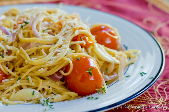Whole Grain Spaghetti with Cherry Tomatoes and Pecorino Romano