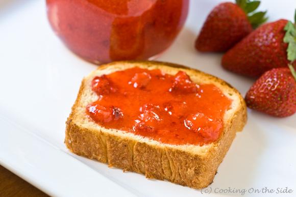 Strawberry jam on brioche toast