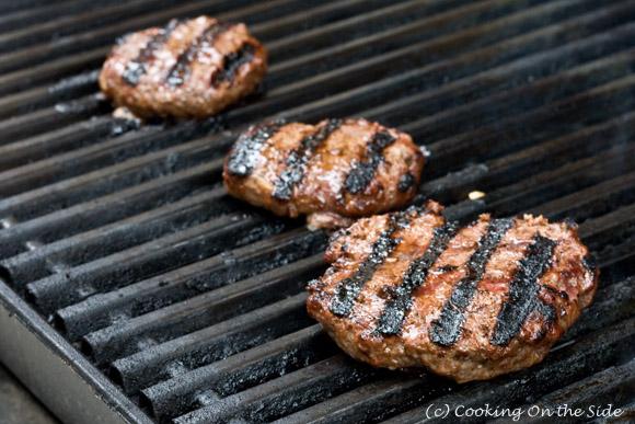 Teriyaki Burgers on the grill