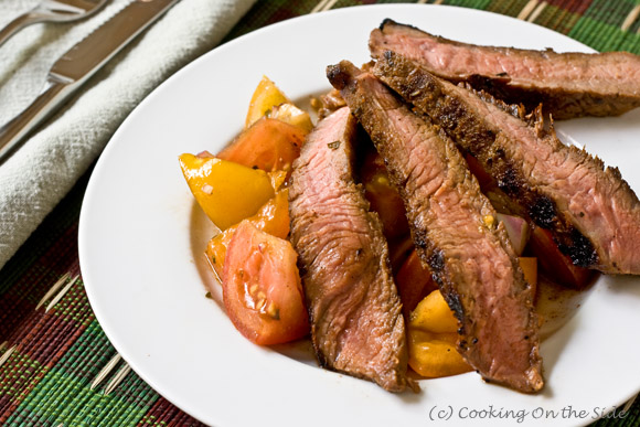 Sweet & Spicy Grilled Steaks with Tomato Relish