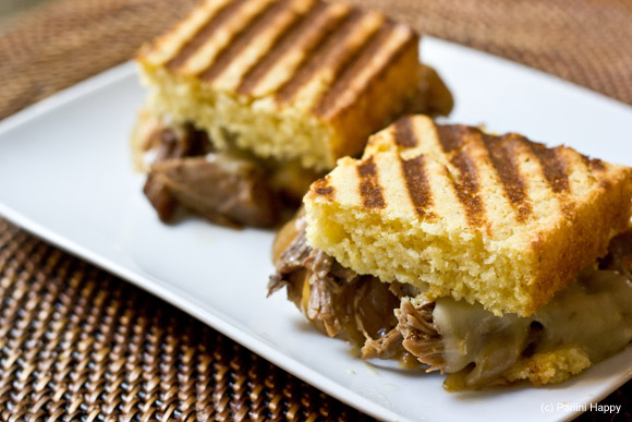 See my Pulled Pork Cornbread Panini with Caramelized Onions and Pepper Jack on Panini Happy