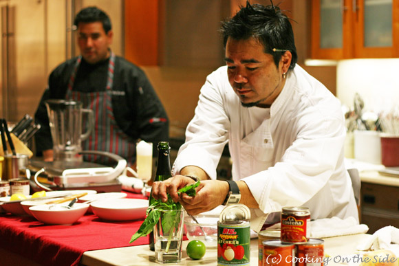 Chef Katsuya Fukushima with Chef Anthony Sinsay looking on