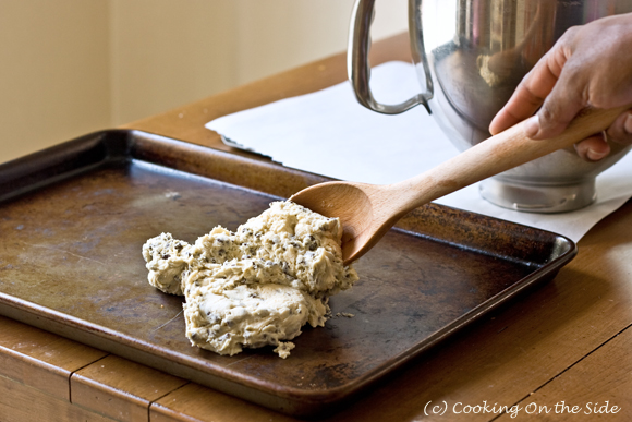 Transfer the cookie dough to a baking pan