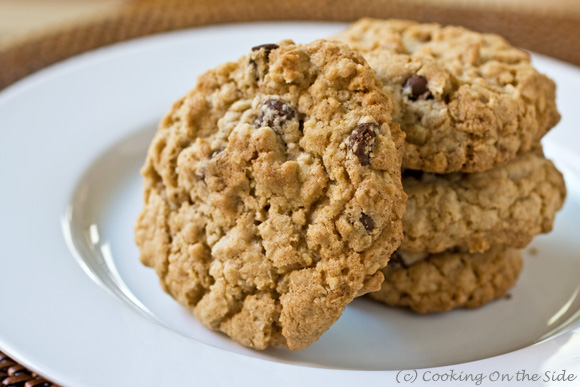Chocolate Chip Oatmeal Cookies...get the recipe at www.cookingontheside.com