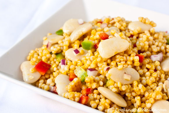 Lima Bean Couscous Salad...get the recipe at www.cookingontheside.com