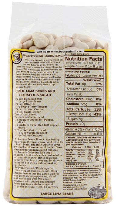 Bob's Red Mill Large Lima Beans package