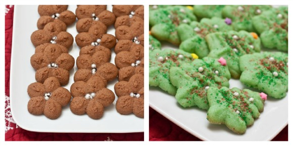 Holiday Spritz Cookies...get the recipe at www.cookingontheside.com #cookies #recipe #holiday