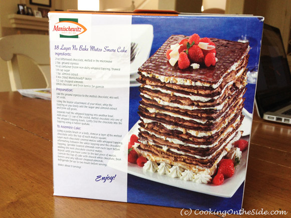 18-Layer No-Bake Matzo S'mores Cake recipe on the Manischewitz Matzo box