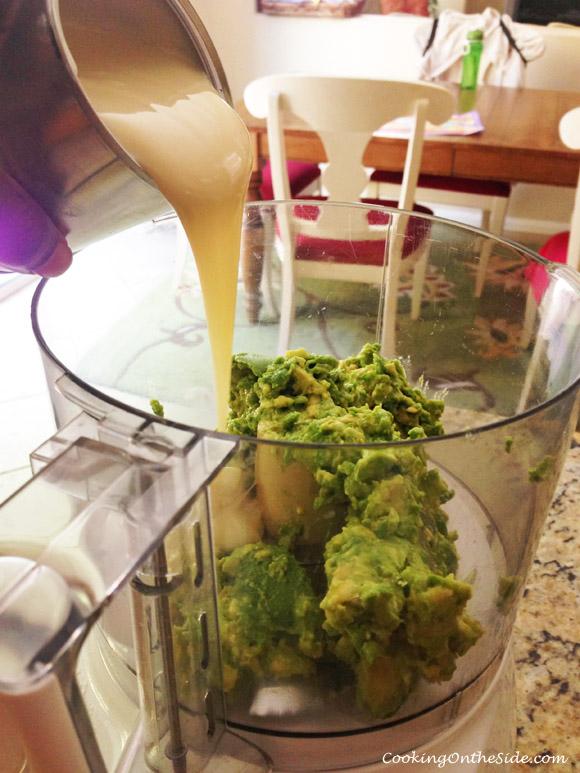 A simple 3-ingredient filling - avocado, sweetened condensed milk, lemon