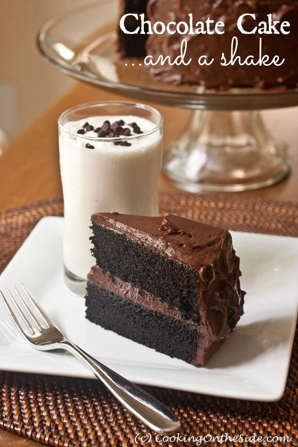 Recipe Dark Chocolate Cake with a Vanilla Milkshake Cooking On
