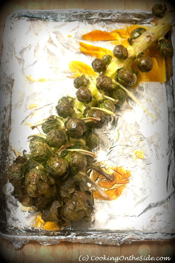 Roasted Brussels Sprouts on the Stalk ...get the recipe at www.cookingontheside.com