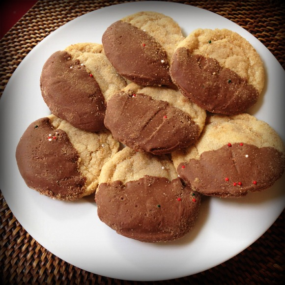 Chocolate Dipped Peanut Butter Cookies from Food and Focus