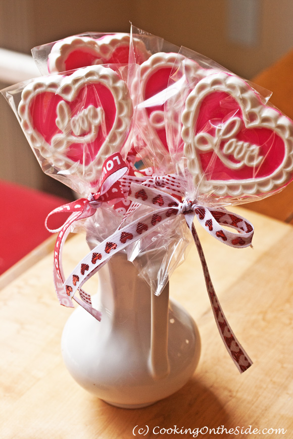 valentine s day chocolate lollipops cooking on the side