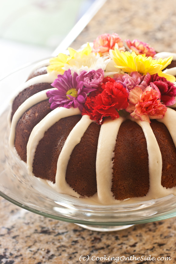 All-in-One Cake...mix both the frosting and the cake batter for this beautiful bundt all in one bowl!